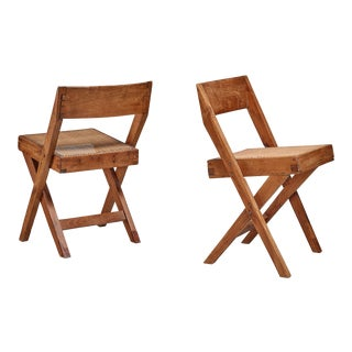 Pierre Jeanneret pair of Chandigarh High Court library chairs, 1950s For Sale
