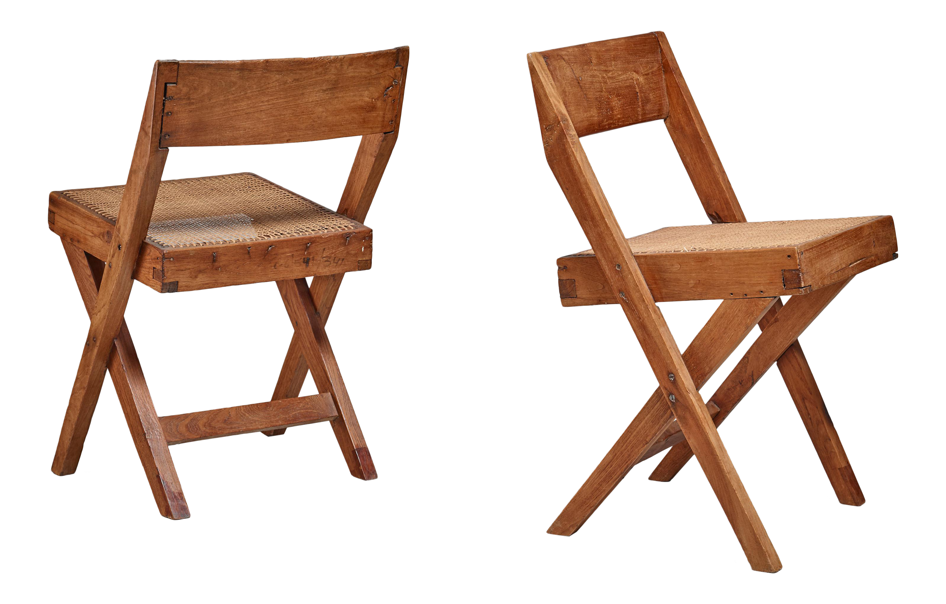 Pierre Jeanneret Pair Of Chandigarh High Court Library Chairs, 1950s    Image 1 Of 8