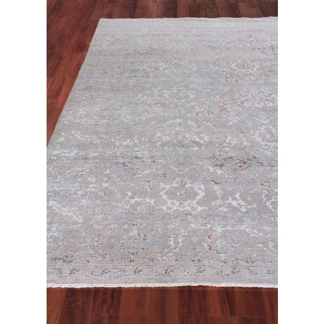Harwich Hand-Knotted Bamboo SilkLight Blue Rug - 8'x10' For Sale - Image 4 of 8