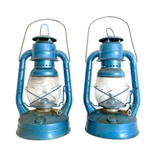 Vintage Blue Dietz Little Wizard Railroad Lanterns - a Pair For Sale
