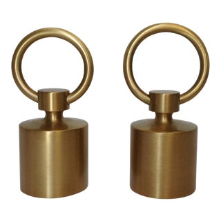 German Custom Brushed Brass Finial Ends - A Pair For Sale