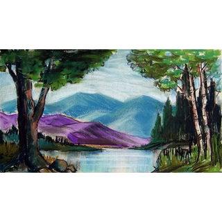 Mountain Lake Pastel Study For Sale