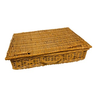 Antique French Wicker Picnic Basket For Sale