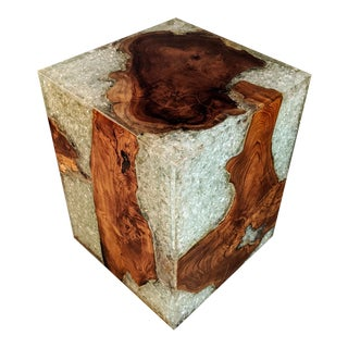 Solid Natural Teak Wood Stool or Side Table With Crackled Resin For Sale