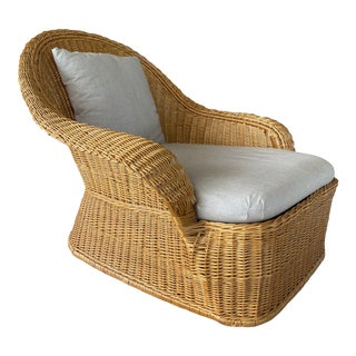 Vintage McGuire Wicker Lounge Chaise Chair For Sale