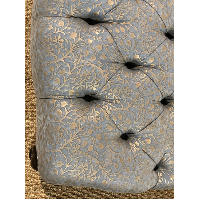 2010s Tufted Ottoman Custom Made by De Angelis Ltd New York in Fortuny Fabric For Sale - Image 5 of 7
