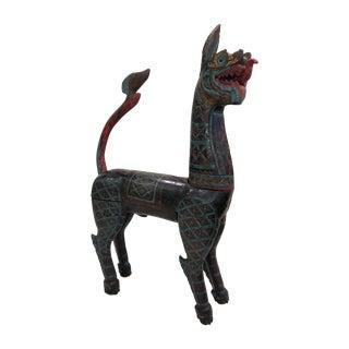 Thai Dragon Horse Polychrome Statue For Sale
