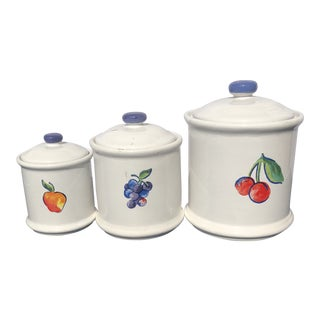 Cherry, Blueberry, Peach Canisters - Set of 3 For Sale