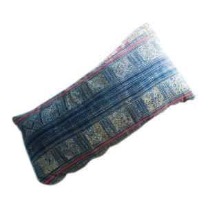 Batik Indigo Style Lumbar Pillow For Sale