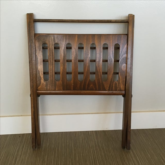 Brown Vintage Wooden Folding Magazine Rack For Sale - Image 8 of 8