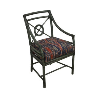 McGuire Green Rattan Target Back Armchair For Sale
