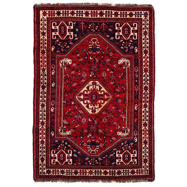 "Vintage Persian Shiraz Rug, 5'10"" X 8'7"" For Sale - Image 9 of 9"