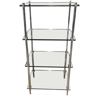 1970s Mid-Century Modern Tempered Glass Chrome Shelving Unit For Sale