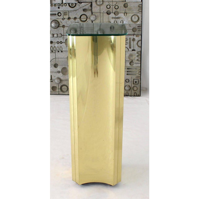 Mirror Glass Top Folded Brass Square Modern Pedestal For Sale - Image 6 of 9