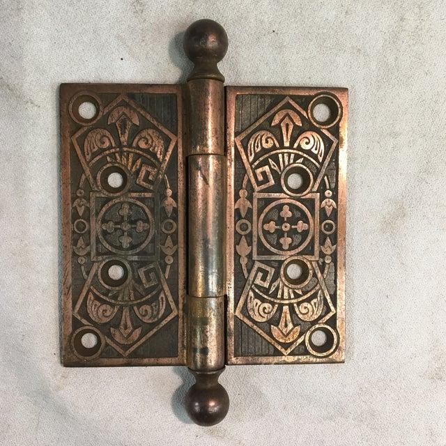 Copper Antique Victorian Eastlake Polished Iron Door Hinge For Sale - Image 8 of 9