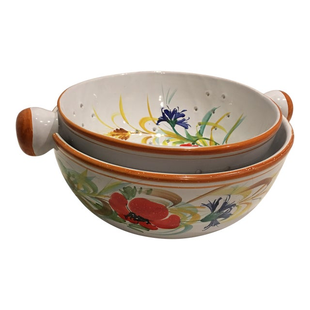 Italian Hand Painted Pasta Bowl & Colander - a Pair For Sale