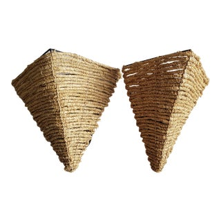 Vintage 1970s Rattan Wrapped Pyramid Sconces - a Pair For Sale