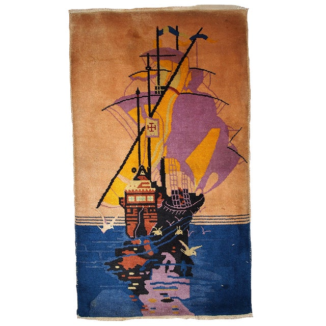 1920s Antique Art Deco Chinese Rug - 2′7″ × 4′6″ For Sale