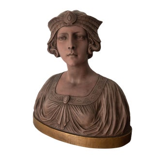 19th Century Art Nouveau Bust French Girl Terracotta Sculpture Signed Arts and Craft For Sale
