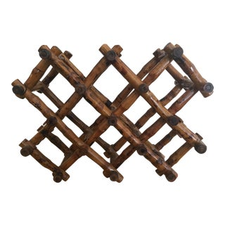Hand-Carved Collapsible Wooden Wine Rack For Sale