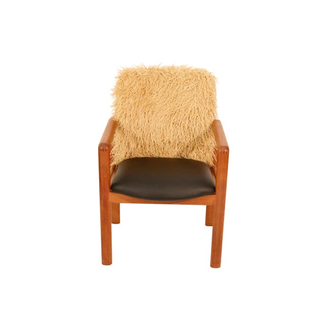 1970s Mid-Century Curated Danish Teak Armchair With Mongolian Faux Fur 1970's Circa For Sale - Image 5 of 7
