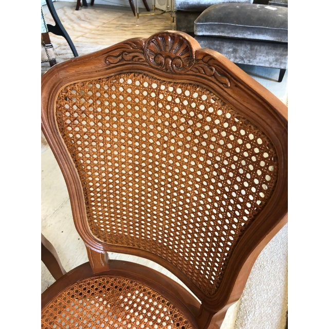 1950s Vintage Classic French Style Caned and Wood Side Dining Chairs- Set of 4 For Sale - Image 11 of 13