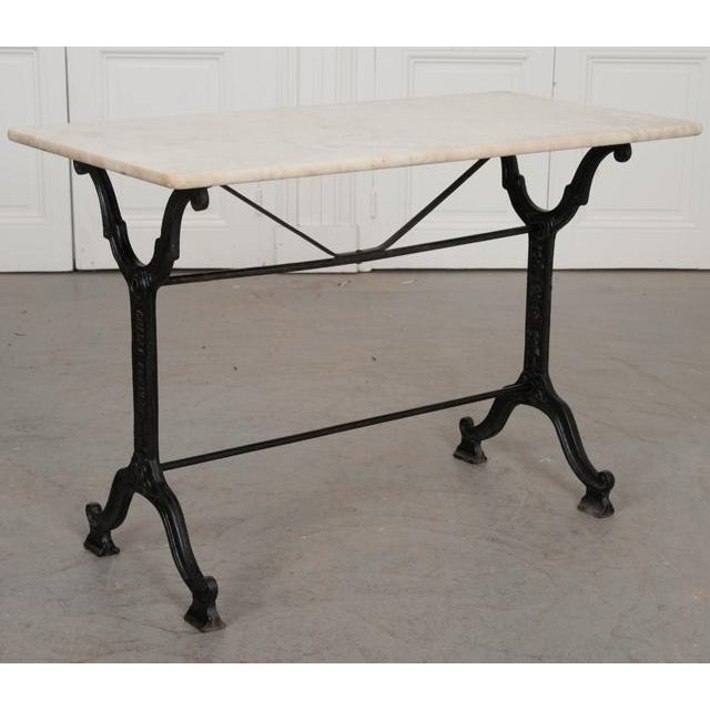 French French Early 20th Century Marble Top Garden Table For Sale - Image 3 of 11