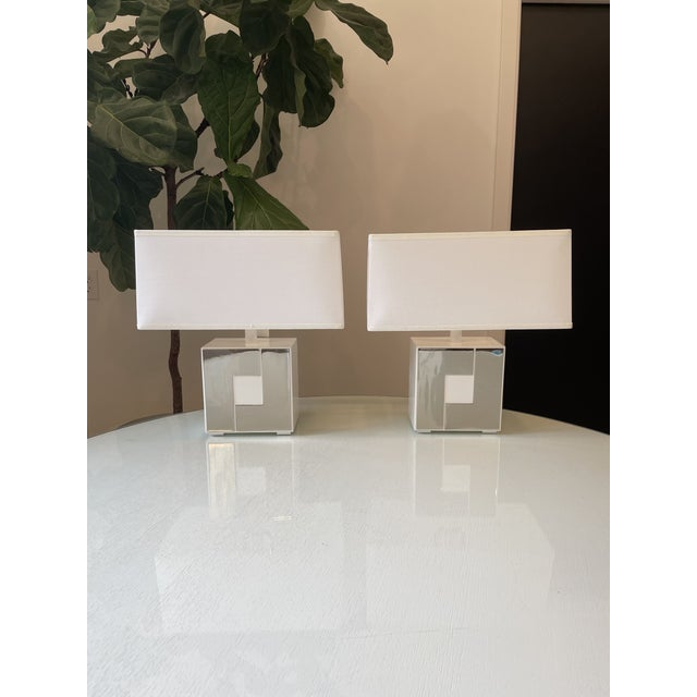 Metal Robert Abbey Modern White Metal and Chrome Accent Lamps - a Pair For Sale - Image 7 of 7