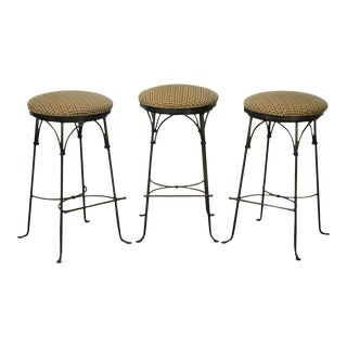 Charleston Forge Shaker Arch Backless Swivel Wrought Iron Counter Bar Stools - Set of 3