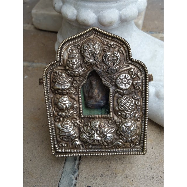 Vintage Traveling Silver Buddhist Shrine - Image 4 of 7