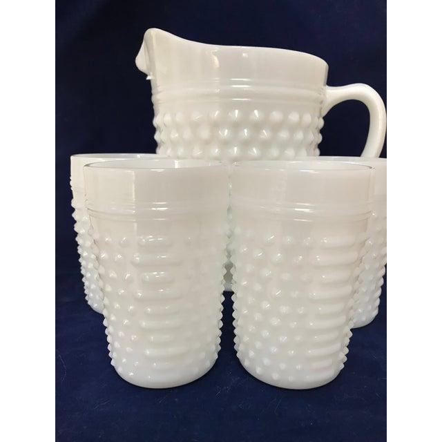 Fenton Art Glass Company Fenton White Milkglass Hobnail Pitcher & Glasses For Sale - Image 4 of 7