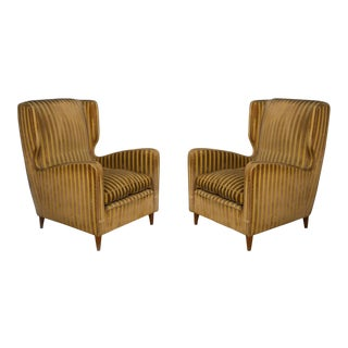 Rare Armchairs From Gio Ponti 40s Original Fabric of the Time For Sale