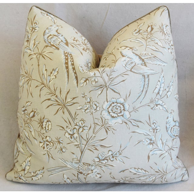 """Early 21st Century Scalamandre Aviary & Velvet Feather/Down Pillows 21"""" Square - Pair For Sale - Image 5 of 13"""