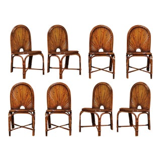 Spectacular Restored Set of Eight Bamboo Chairs in the Style of Gabriella Crespi, circa 1975 For Sale