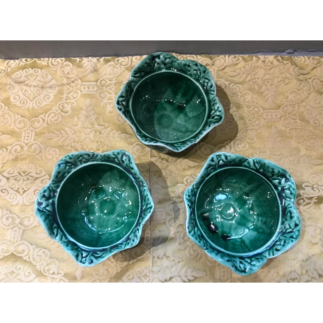 Ceramic Vintage Secla Majolica Green Cabbage Covered Soup Bowls - Set of 3 For Sale - Image 7 of 12