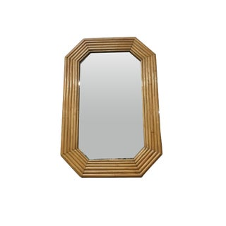 1940s Six-Strand Square Rattan Mirror For Sale