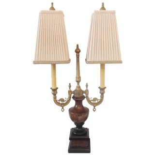 20th Century Neoclassical Marble and Cast Gilt Brass Double Light Lamp For Sale
