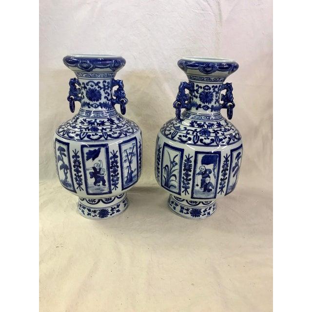 Asian Blue Amp White Jars A Pair Chairish
