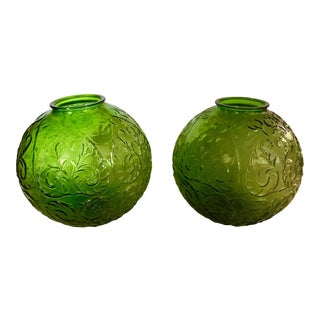 Green Glass Orb Pendant Lampshades - a Pair