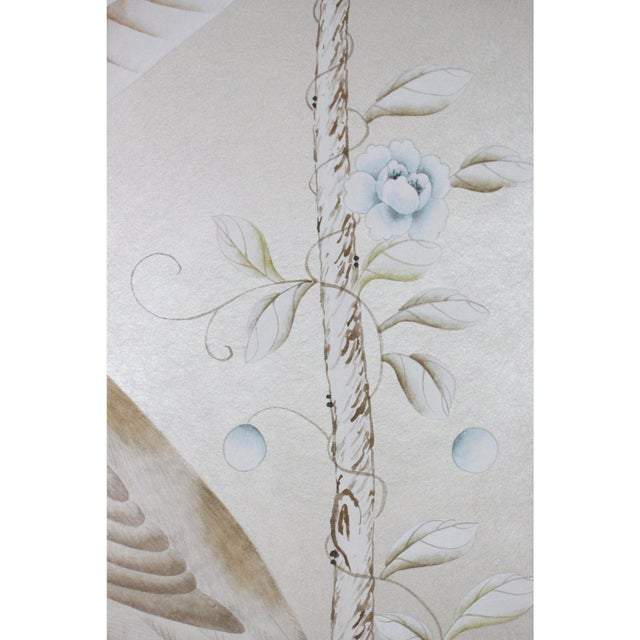 Chinoiserie Vintage Chinoiserie Hand-Painted Crane on Champagne Taupe Wallpaper Diptych Paintings - 2 Pieces For Sale - Image 3 of 4