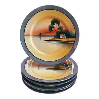 Mid-Century Japanese Hand Painted Plates - Set of 6 For Sale