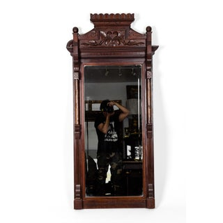 Victorian Carved Mahogany Wood Framed Hanging Wall Mirror Preview