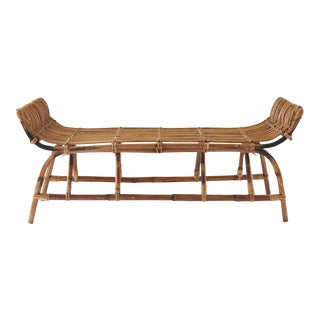 1930s Vintage Boho Bamboo Bench For Sale
