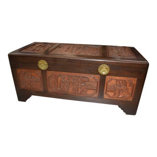 1950s Vintage Chinese Rosewood Hand Carved Camphor Interior Trunk For Sale