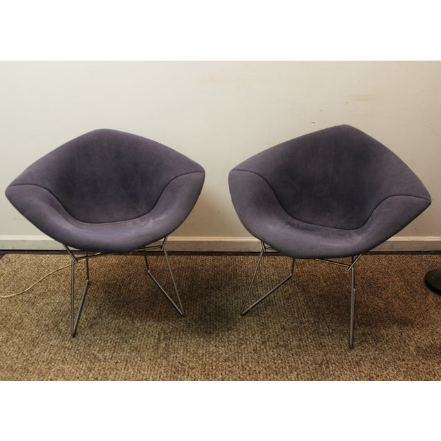 Bertoia Mid-Century Blue Diamond Chairs - Pair - Image 2 of 11