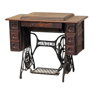 20th Century Traditional Singer Sewing Table With Carved Decorative Details For Sale