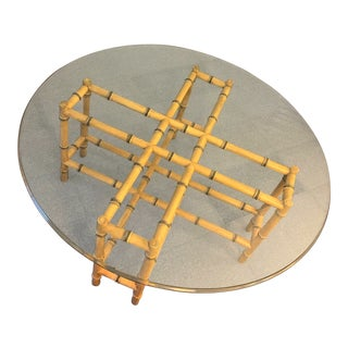 1950s Boho Chic Faux Bamboo Cocktail Table With Beveled Glass Top For Sale