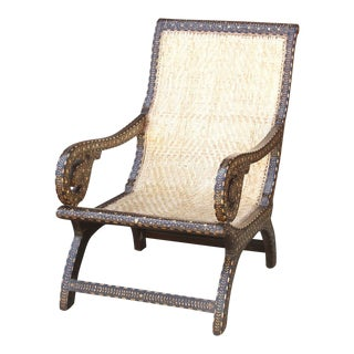 Anglo Indian Bone Inlay Lounge Chair For Sale
