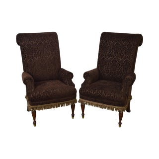 Drexel High Back Upholstered Host Arm Chairs - a Pair For Sale