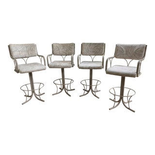 High Back Bar Stool Chairs - Set of 4 For Sale
